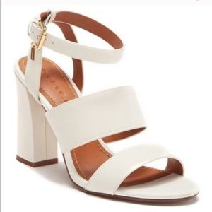 🆕 Coach / White Genuine Leather heeled Sandals